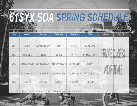 61Syx SDA Spring Schedule 2017