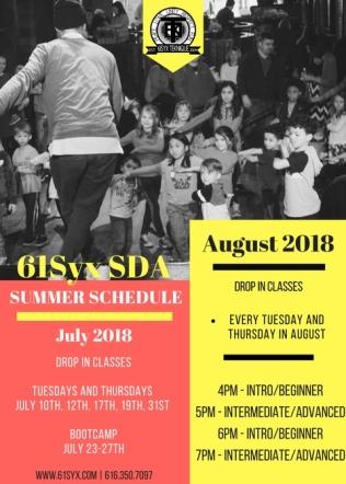 61Syx SDA Summer 2018 Schedule