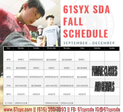 61Syx SDA Fall 18 Schedule